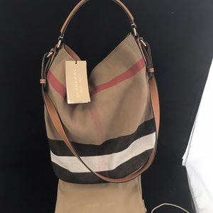 245b21e3fbc6 Burberry Bags - Burberry Ashby Med. Canvas Check Tote Saddle Brown
